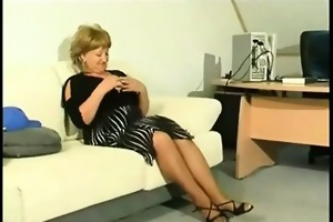 aged cougar with large scones plays with a sex