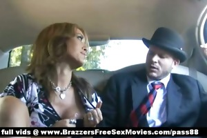 super hot redhead doxy behind the limo