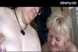 two grannies and stud have sex
