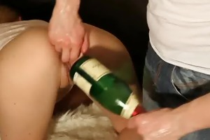 extraordinary double fisting and champagne bottle