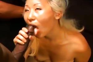 horny oriental honey bonks with a dark lad