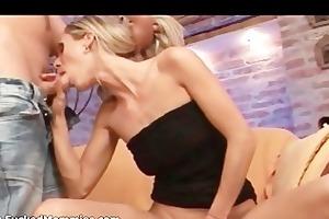 slender blonde mamma gives irrumation and slurps