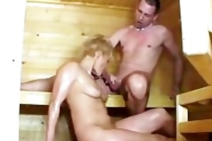 sauna sex with lascivious mature hotties german