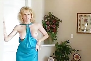 housewife in blue suit acquires it is from behind