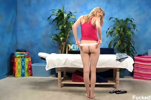 cute blond gal allie gets tempted by her massage