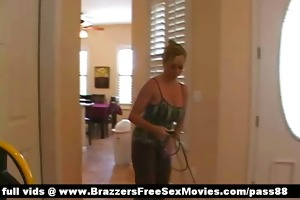 super sexy breasty blond honey cleans the abode
