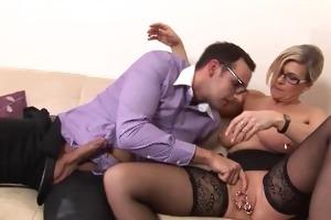 nerdy chap receives lustful by older woman