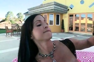 immodest brunette hair mamma giving titjob and