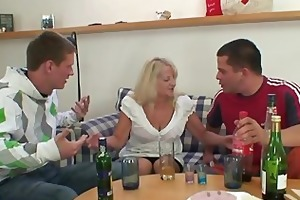 blond granny in sexy three-some fuckfest