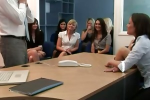 office vixens make poor lad undress
