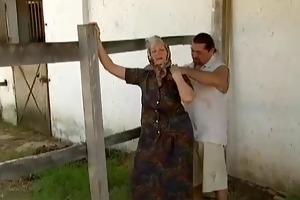2 farm grannies tempted by juvenile chap