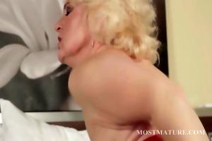 blonde aged widens wide her wet crack