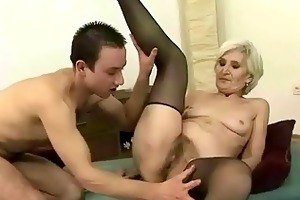 granny in darksome nylons enjoys sex with a chap