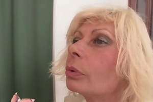lewd blond granny double penetration
