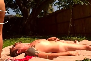 wife sunbathes during the time that fucking