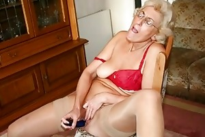 grandmom in hose masturbating with sex tool
