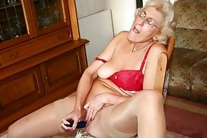 grandmom in hose masturbating with sex tool