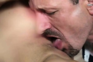 guy cums two times in hot breasty milf in bedroom