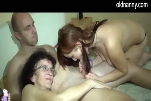 old lady with youthful hotty blow job jointly
