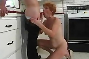 young lad bonks shorthaired redhead 70 year old