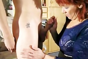 dilettante redhead milf sucks and bonks a