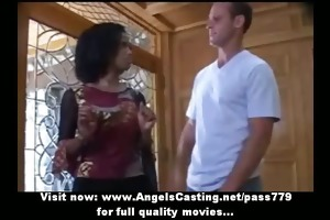 virginal afro bride in threesome does fellatio