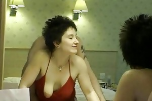 short haired brunette mother i receives into a