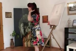lascivious lady jumps on new knob