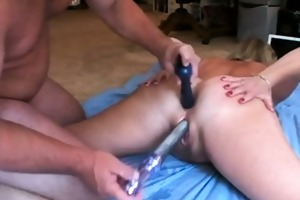 fucking wifes hot soaked snatch with lengthy toy