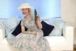 sexually excited granny cucumber pussy penetration