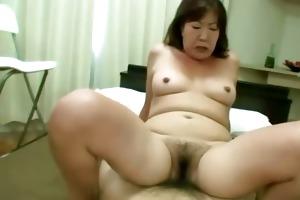 asian tramp receives her hirsute vagina rocked on