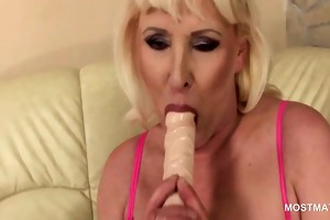 lonely golden-haired aged using her favorite sex