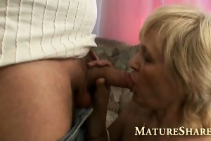 golden-haired granny with fine shaved love tunnel