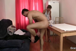 aged masseuse takes it is from behind