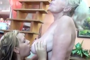 golden-haired aged granny likes having part3