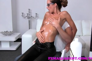 femaleagent milf receives all oiled up by massuse