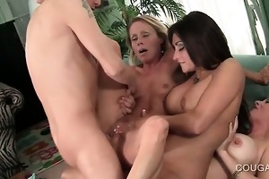 big o starved cougars having hardcore sex in 4some