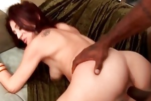 foxy redhead milf slut copulates outdoor with