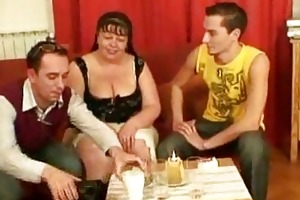 two laughable dudes gangbang older fatty