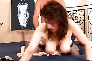lascivious aged hottie in nylons drilled