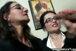 aged office ladies receive hawt at work