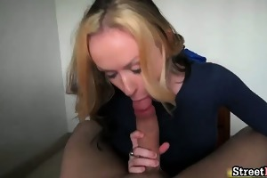 sexy blond chick blows unyielding knob