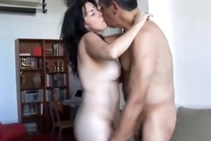 gorgeous aged brunette hair likes the smack of cum