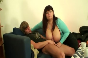 breasty fatty widens her legs for a stranger