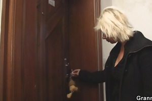blond granny allows him drill her old snatch