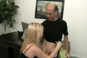 blonde floozy holly bonks her older boss in his