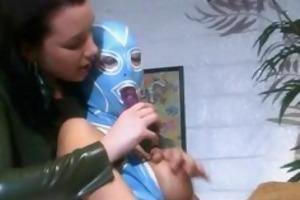 lesbian in rubber mask fuck a mistresss sextoy