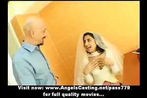hot dark brown indian bride talking with a chap