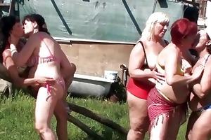 five aged lesbo snatches fuck e...