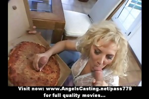 rich golden-haired does oral and tugjob for pizza